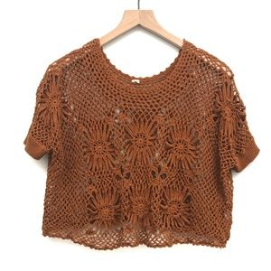 Free People Orange Crochet Top - No Size Tag